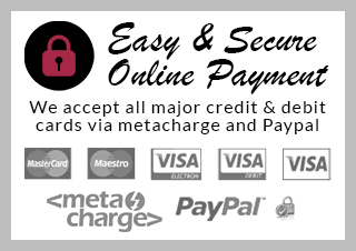 easy and secure online payment we accept all major credit and debit cards via metacharge and Paypal